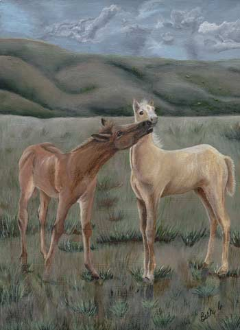 Painting of a Colts in the pasture