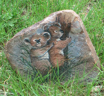 Rock painting of Koalas