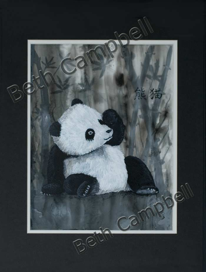 Mylar Painting of a Sleepy Panda by Artist Beth Campbell